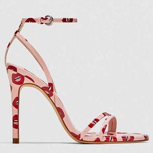 ZARA Sz 40 Lip Print Stilettos Pink Strappy Heels